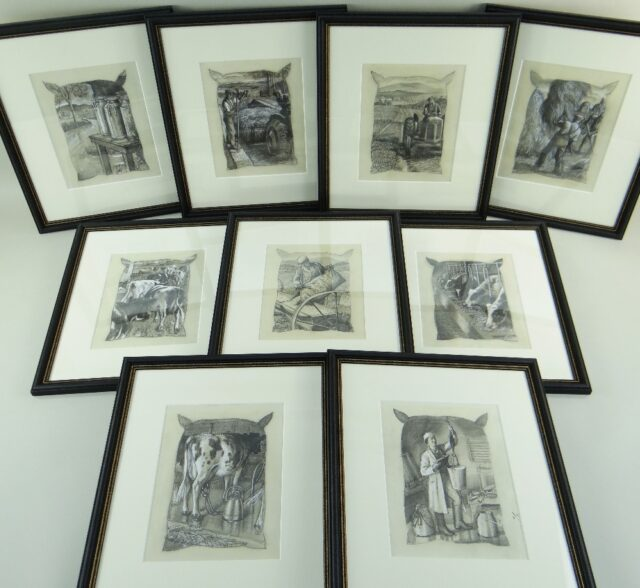 Charles Frederick Tunnicliffe OBE RA Set of Eighteen Mixed Media Studies of Farming Life