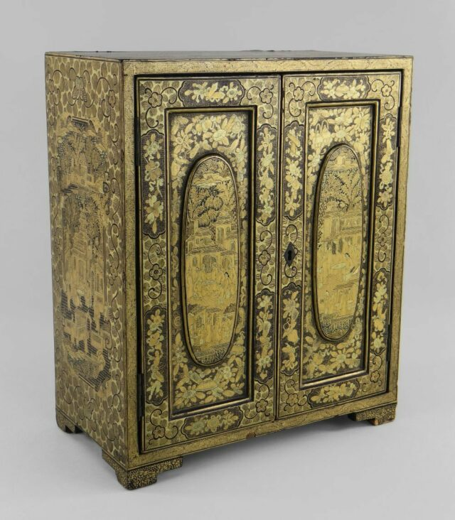 19th Century Chinese Black Gold Table Cabinet