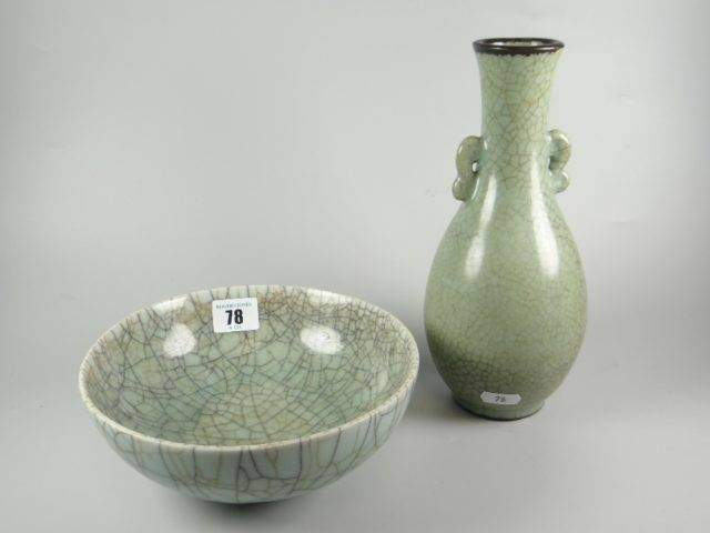 Crackle glazed pottery