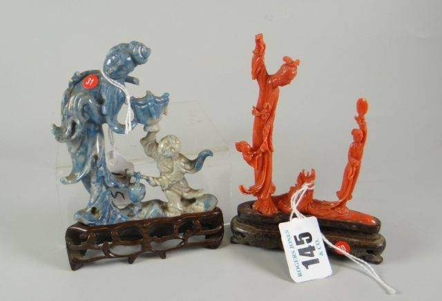 Coral and soapstone carvings