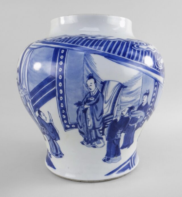 Chinese Audience Baluster Jar