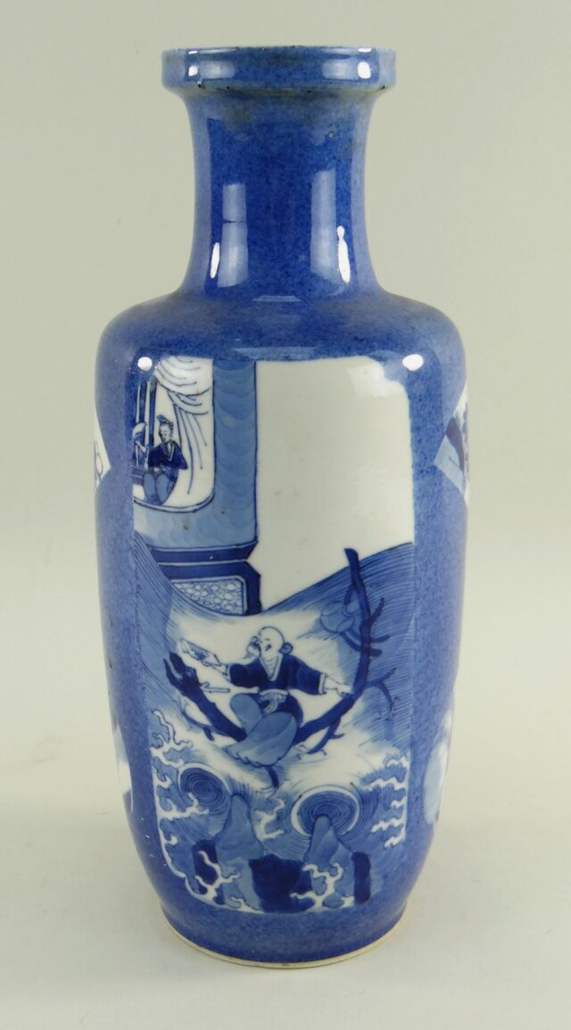 Chinese Blue Ground Rouleau Vase
