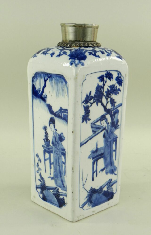 Chinese Blue White Square Flask