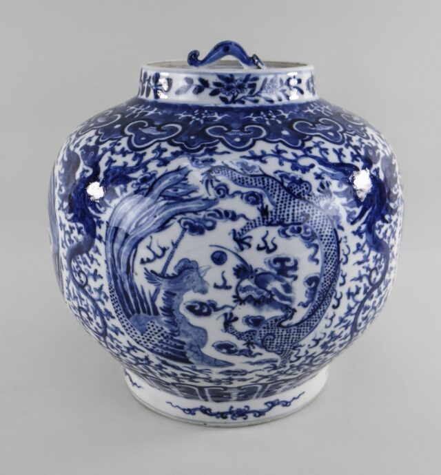 Chinese Dragon Phoenix Lantern Jar