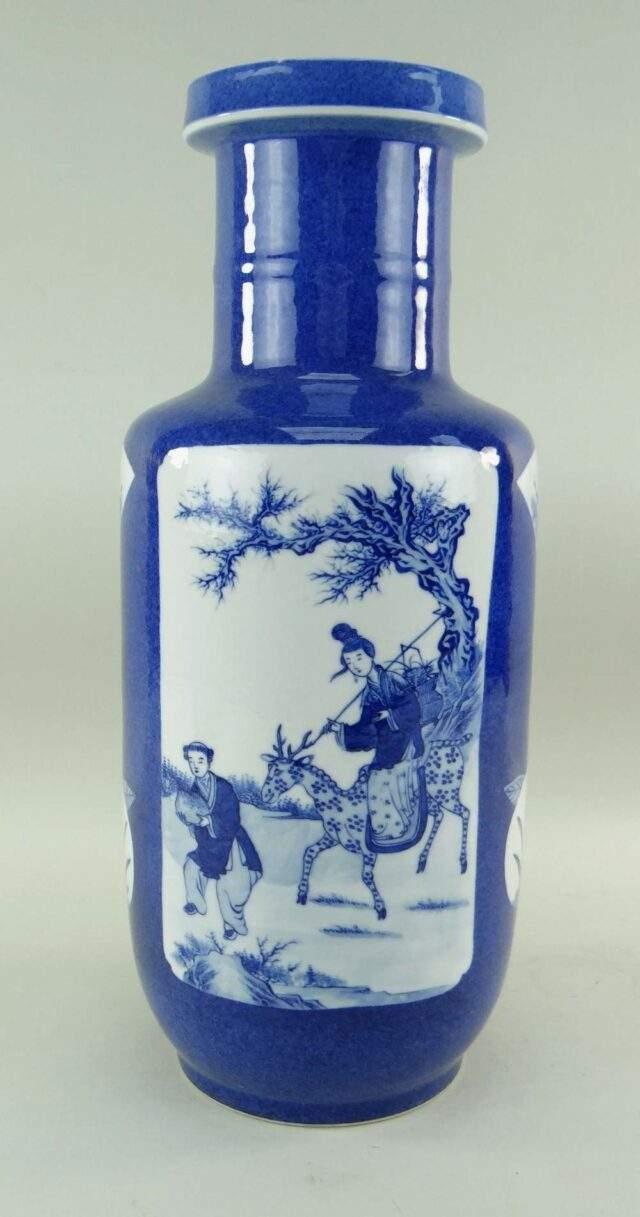 Chinese Powder Blue Ground Rouleau Vase