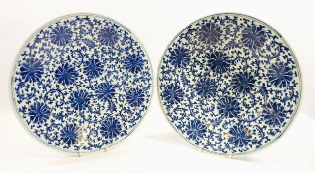 Pair of Chinese Blue White Chargers