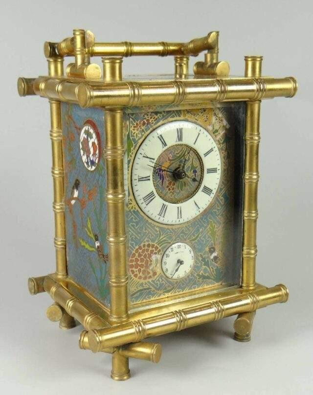 Enamel Orient-style Carriage Clock