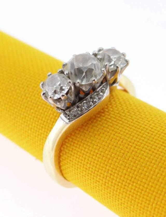 18 CT Gold Three Stone Diamond Ring