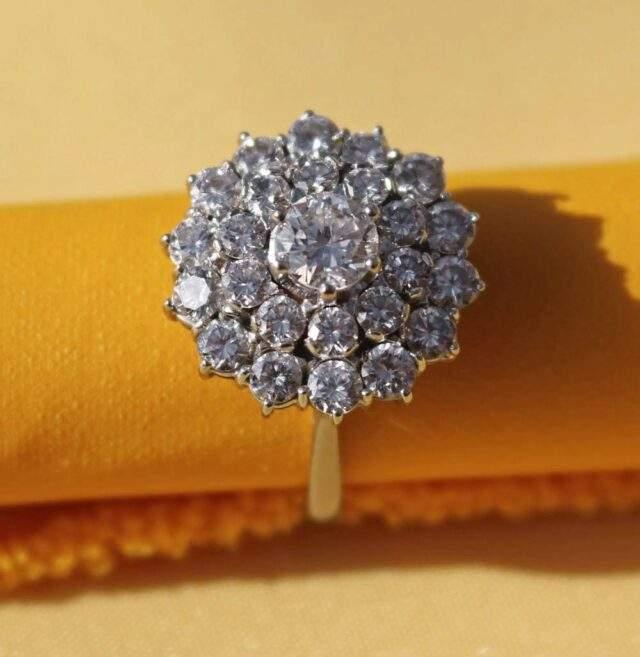 18 CT White Gold Diamond Cluster Ring