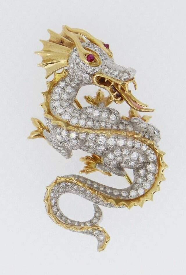 Diamond Dragon Brooch