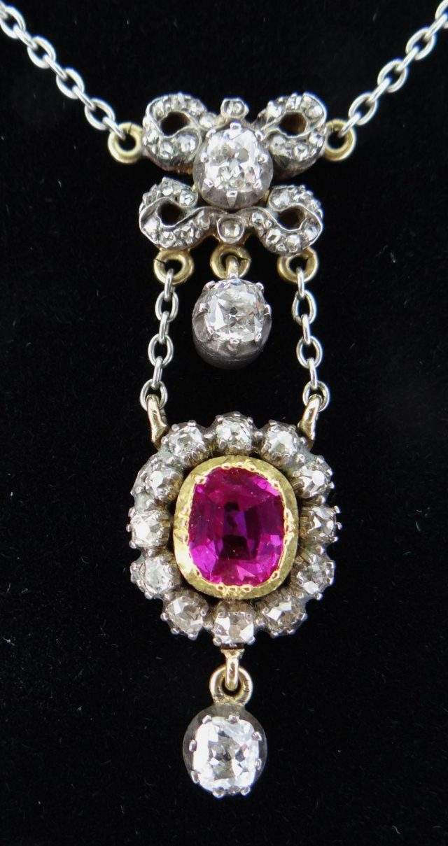 Pink Sapphire Diamond Pendant Necklace
