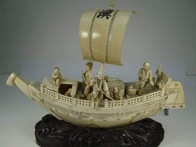 Sectional Ivory Boat (Meiji)