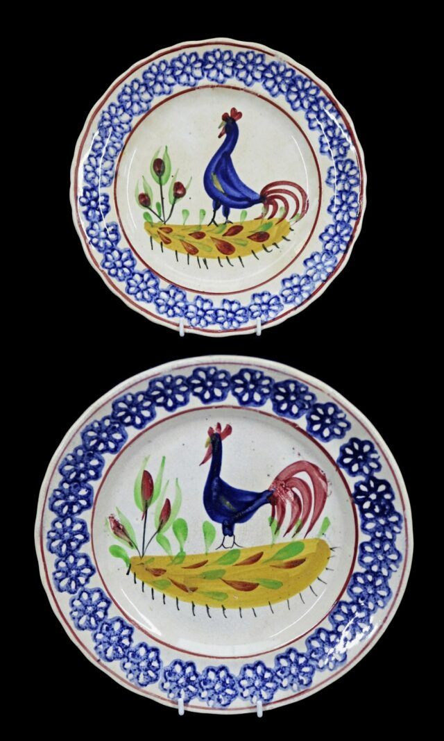 Pair of Llanelly Cockerel Plates