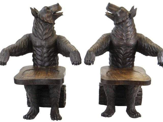Black Forest Style Bear Chairs