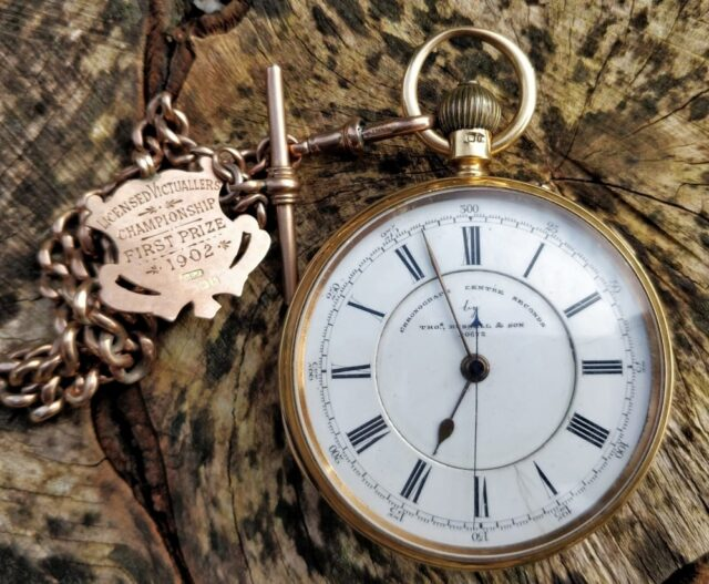 18 CT Gold Chronograph Pocket Watch
