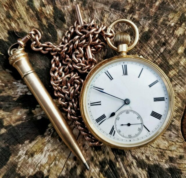 18 CT Gold Open Faced Pocket Watch