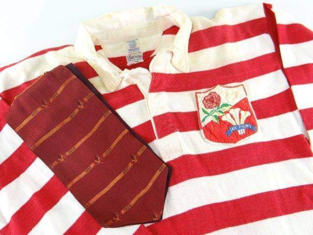 RARE 1955 MATCH WORN RUGBY UNION JERSEY FOR WALES ENGLAND v IRELAND SCOTLAND