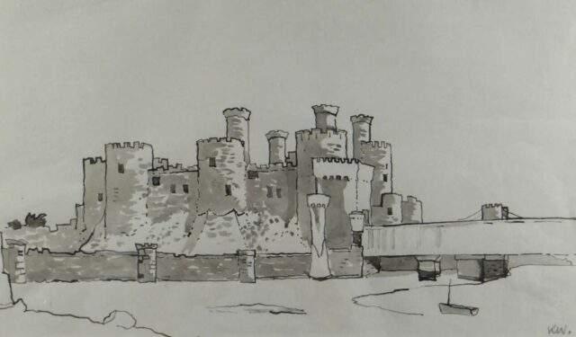 Sir Kyffin Williams RA Inkwash Conwy Castle