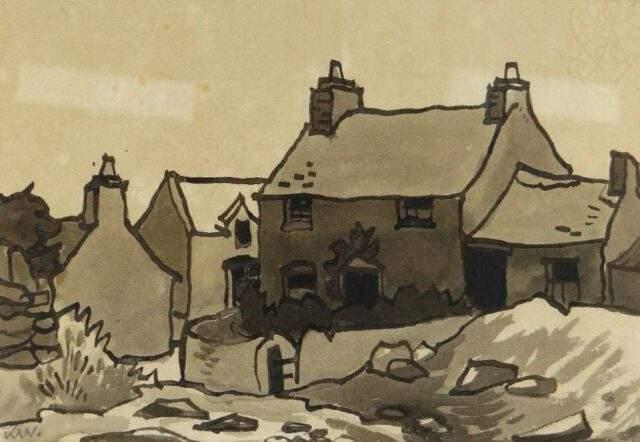 Sir Kyffin Williams RA Inkwash Cottages at Gorslwyd Llanddona