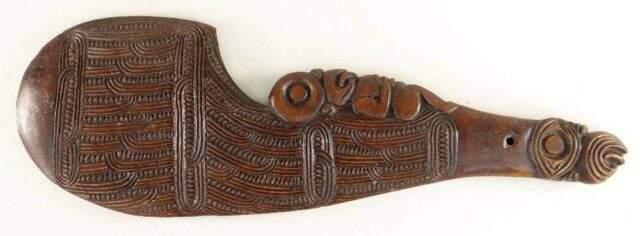 Maori carved wahaika hand club