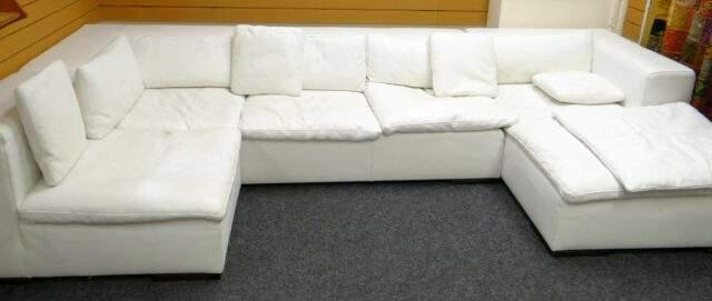 Italian 'Verdesign' white leather modular sofa £250-350