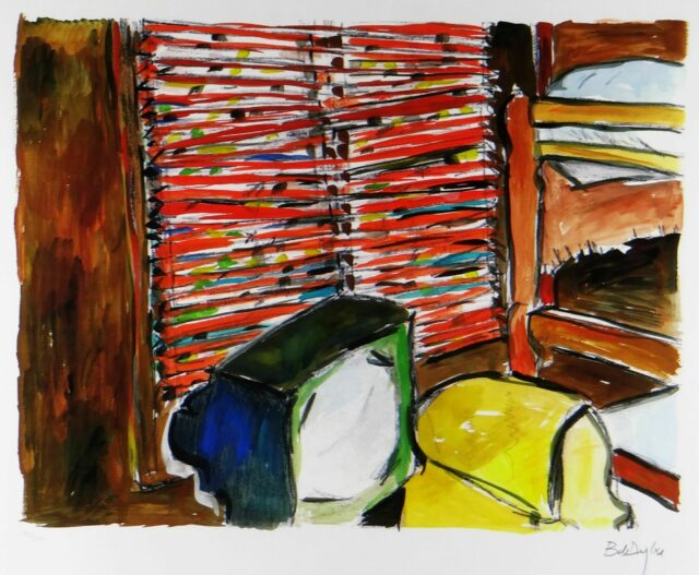 BOB DYLAN limited edition (180/295) giclee on paper print from the 'Drawn Blank' series - 'Lakeside Cabin', 58 x 47cms