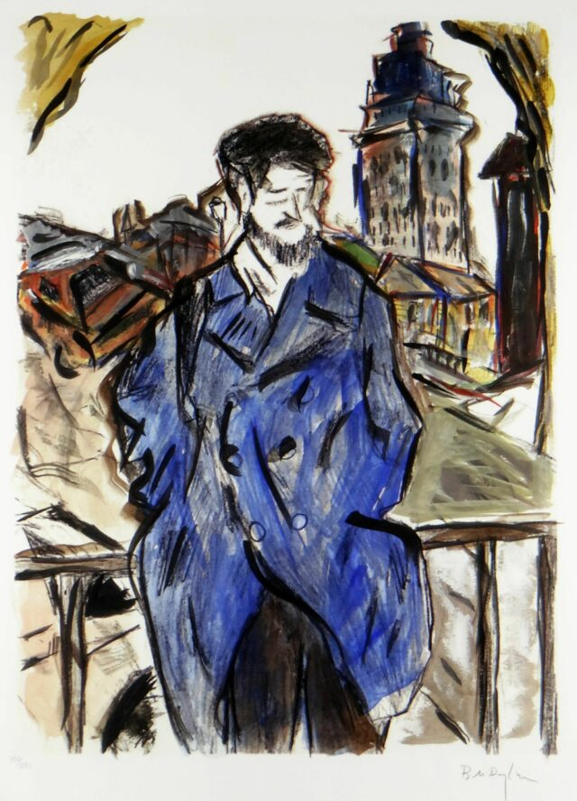 BOB DYLAN limited edition (180/295) giclee on paper print from the 'Drawn Blank' series - 'Man on a Bridge' (blue coat), 60 x 46cms